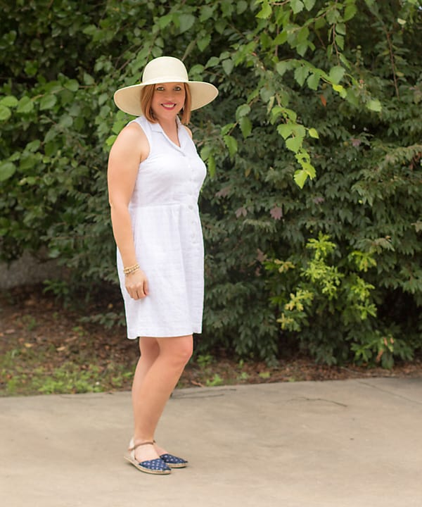 white dress summer outfit with hat