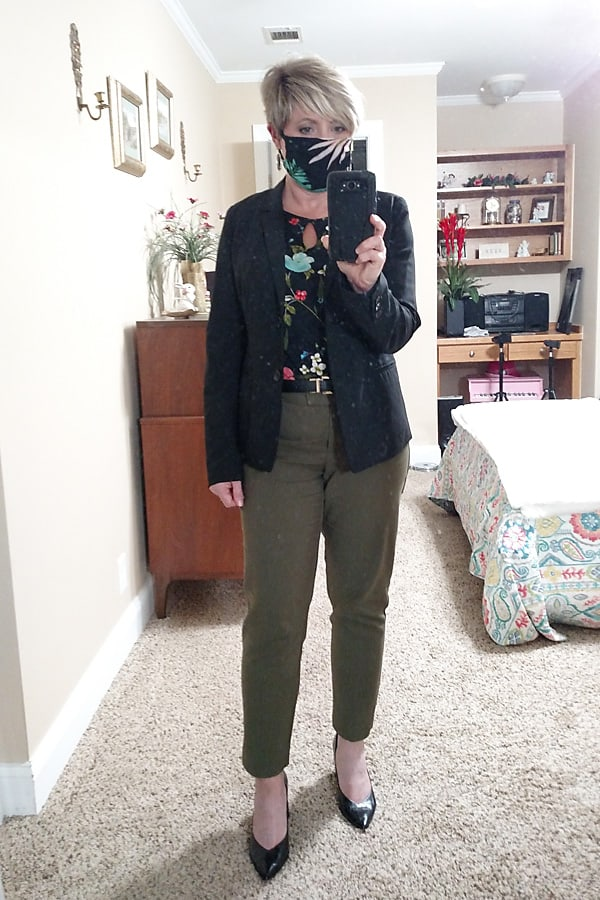 office outfit with fashion face mask