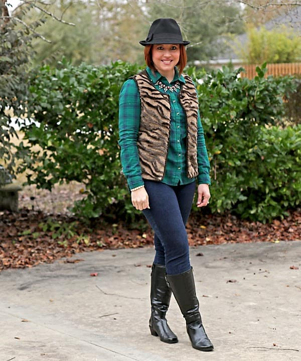 plaid shirt and vest outfit with hat