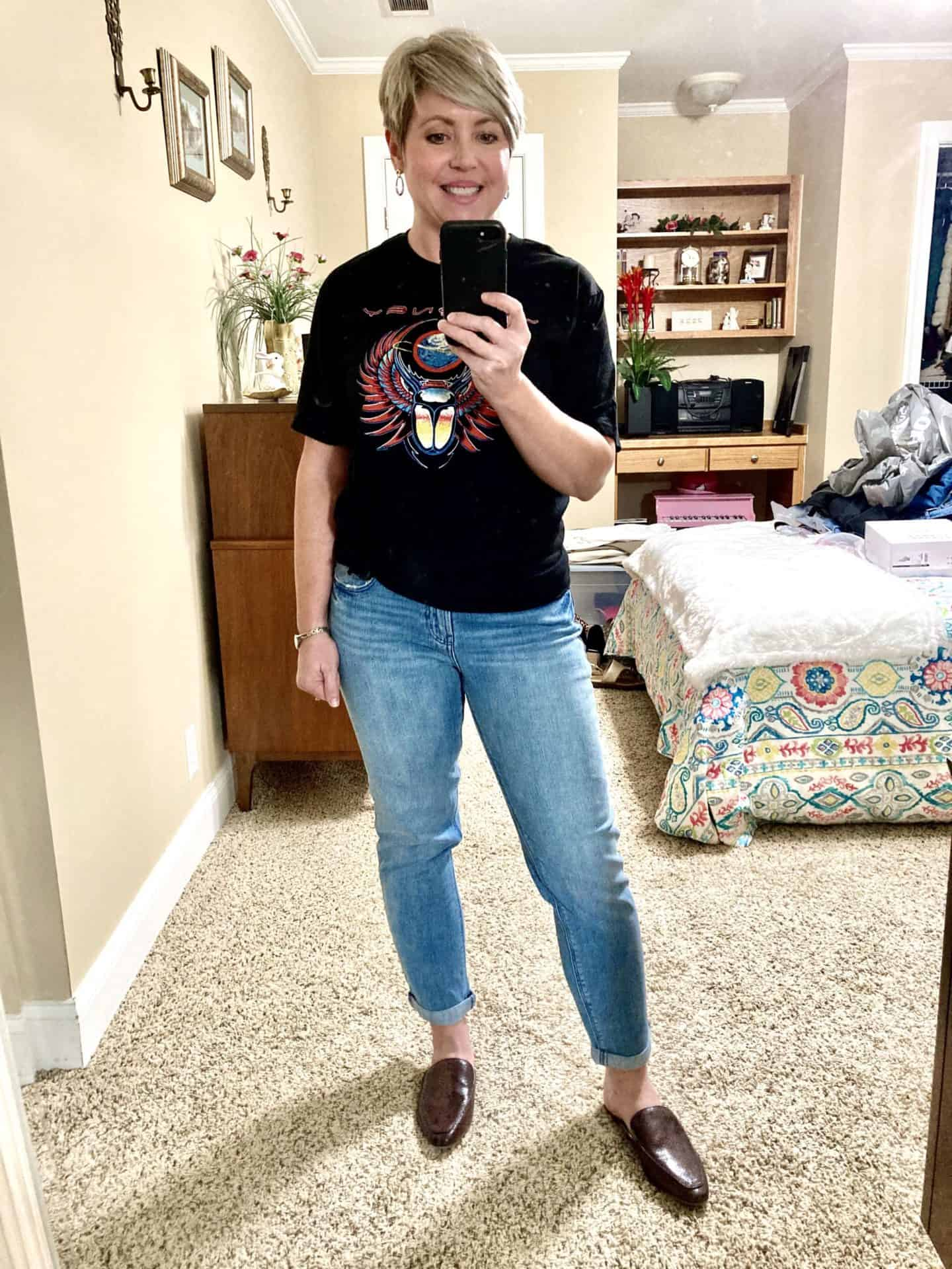 Journey band tee with Old Navy boyfriend jeans