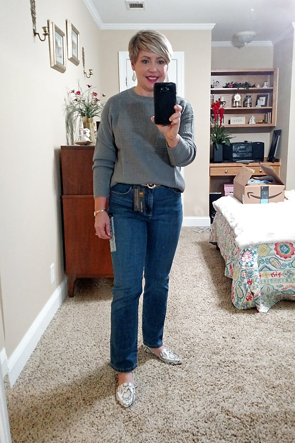 waffle knit sweater and straight leg jeans from Amazon