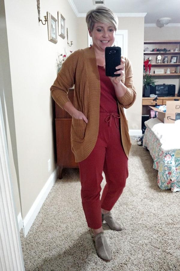 Amazon jumpsuit and cardigan sweater