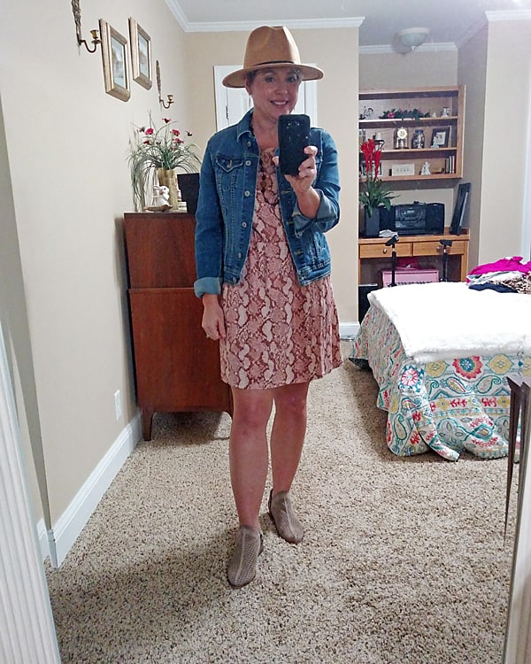 early fall outfit with summer dress and denim jacket