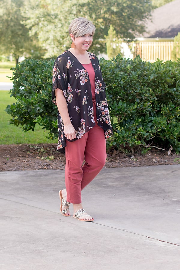 kimono in fall florals over jumpsuit