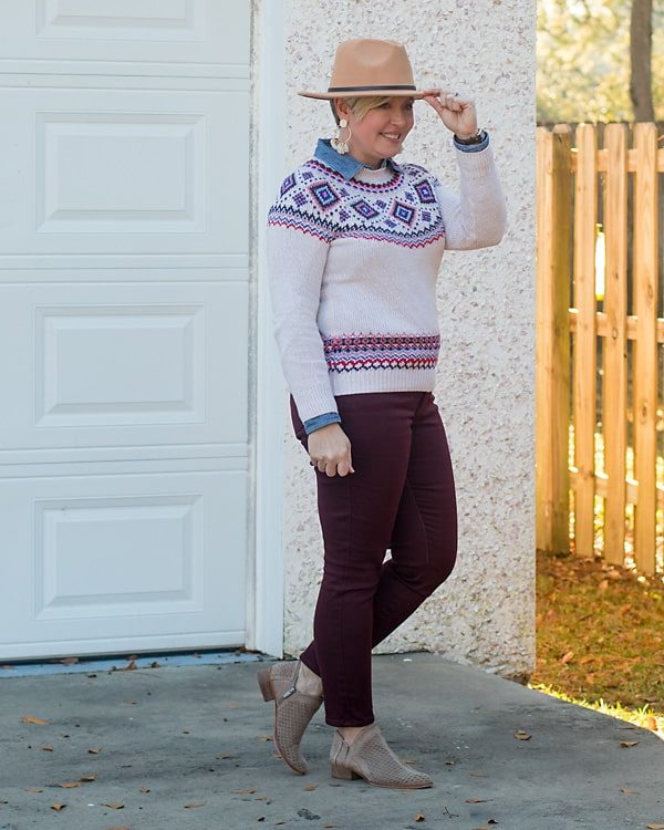 hat with sweater and jeans