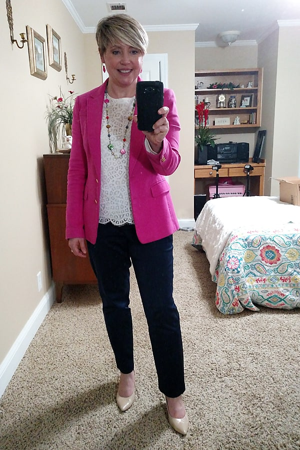 summer work wear outfit with hot pink blazer