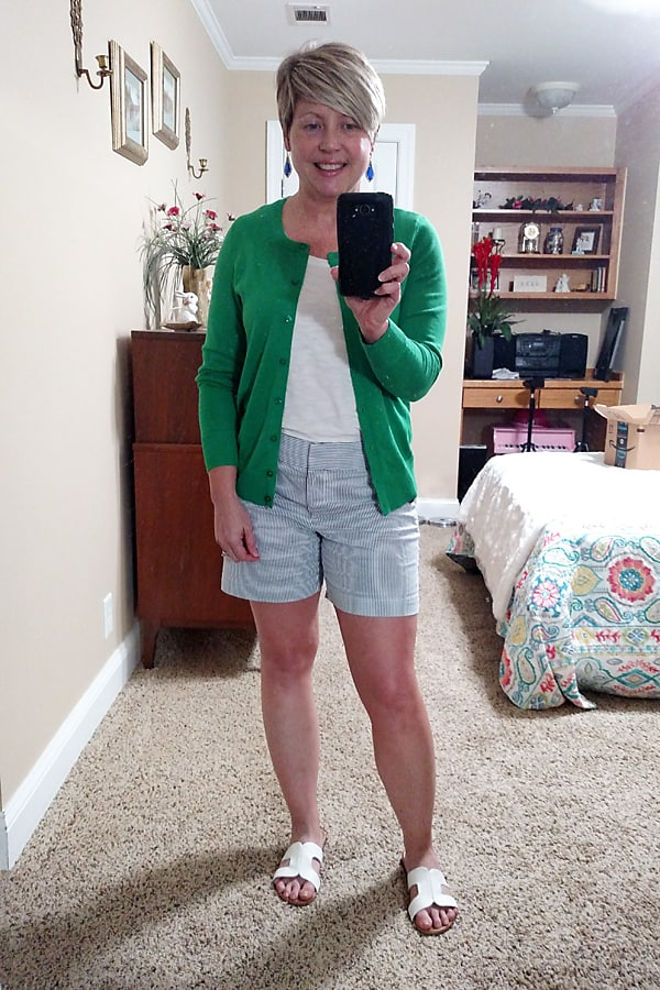 cardigan and shorts outfit