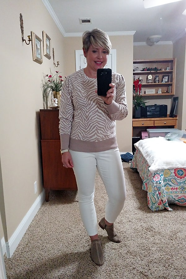 Animal zebra print puff sleeve sweater for fall with white jeans