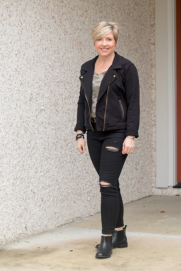 edgy moto jacket outfit