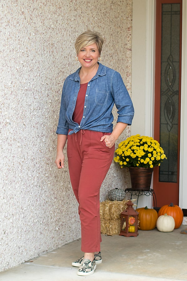 fall jumpsuit with chambray shirt