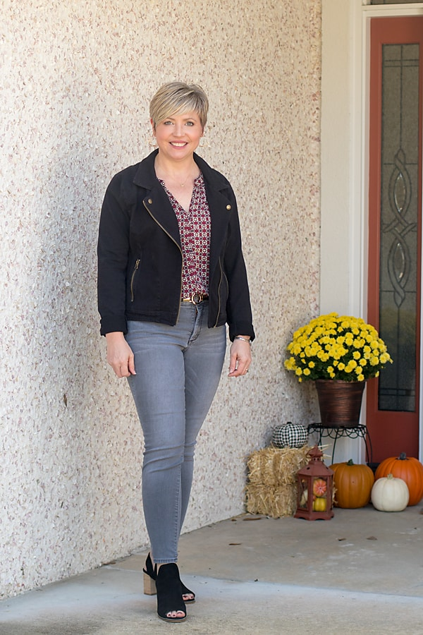 Fall outfit with lightweight moto jacket