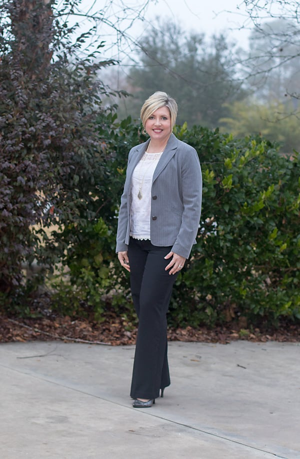 grey and black work outfit