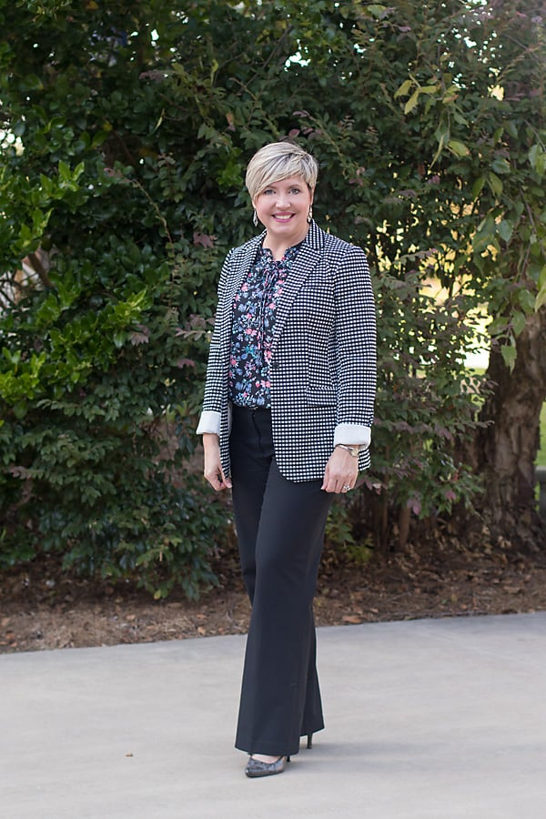 Pattern mixing with black pants