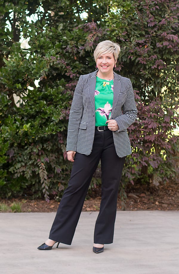 gingham blazer work outfit
