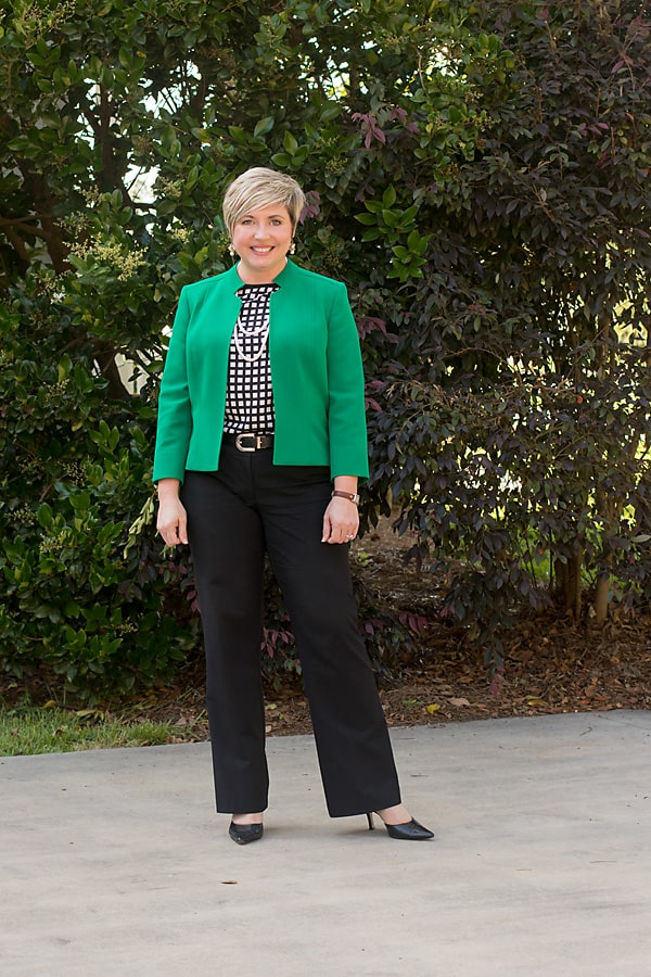 women's work wear with black pants