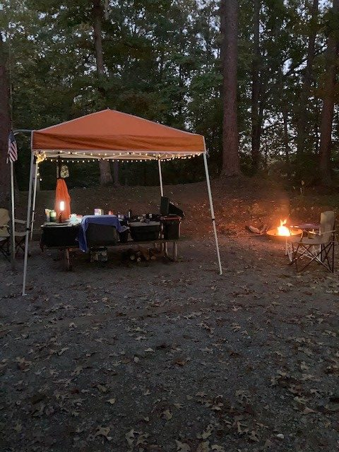 camping canopy with fairy lights