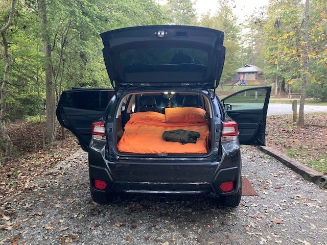 luno life in crosstrek car camping