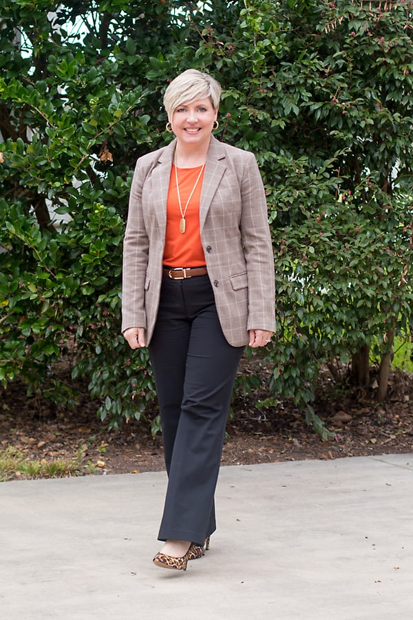 plaid blazer office outfit