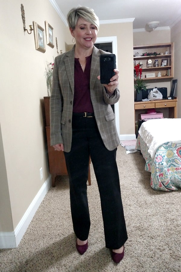 Plaid blazer with black pants