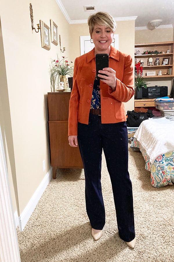 rust blazer fall work wear