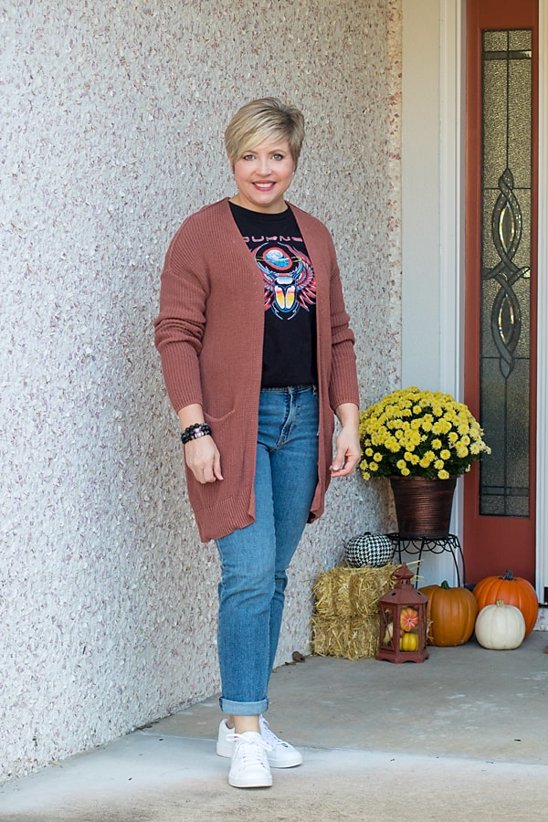 cardigan and band tee outfit