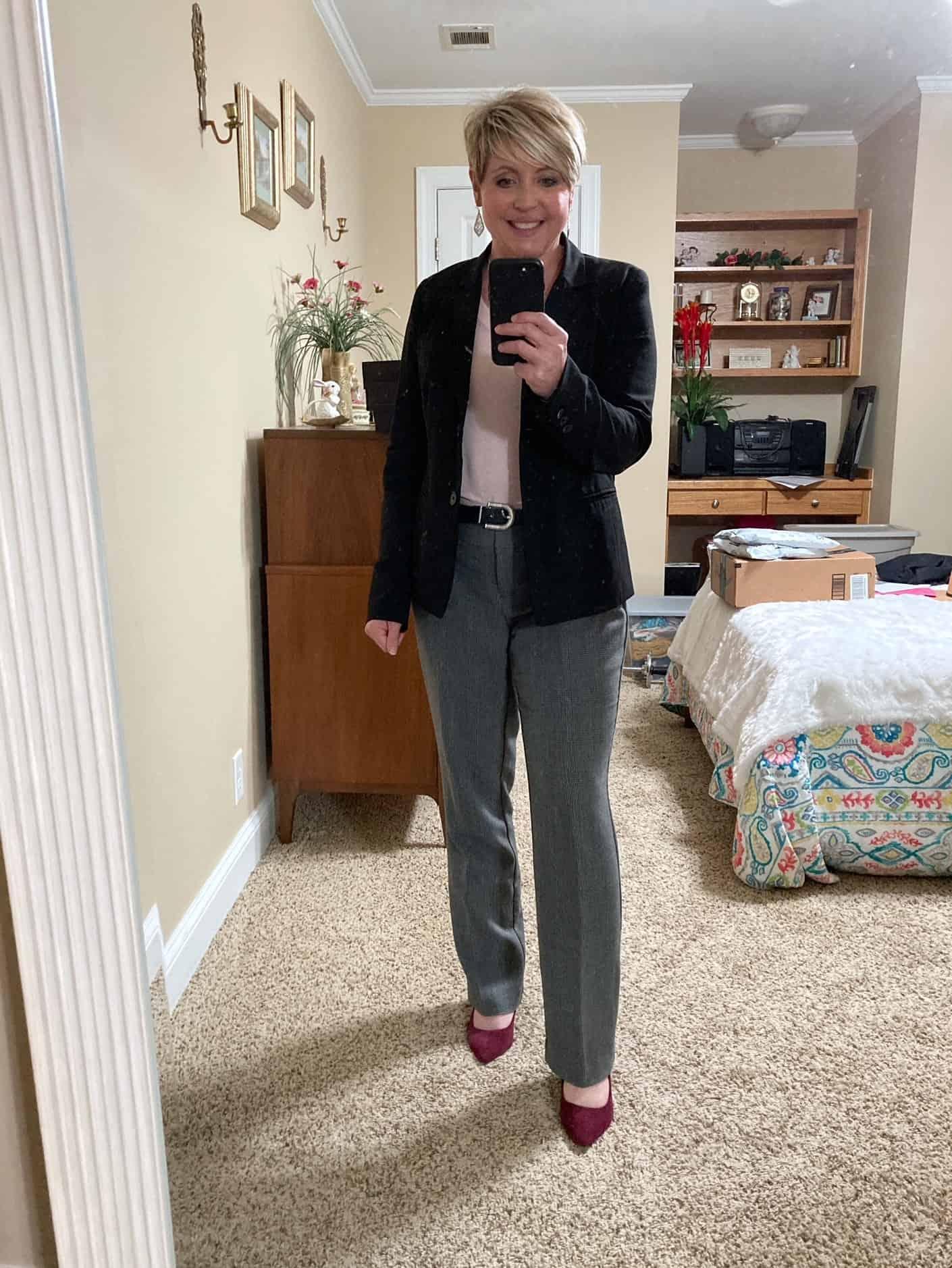 women's office wear with black blazer