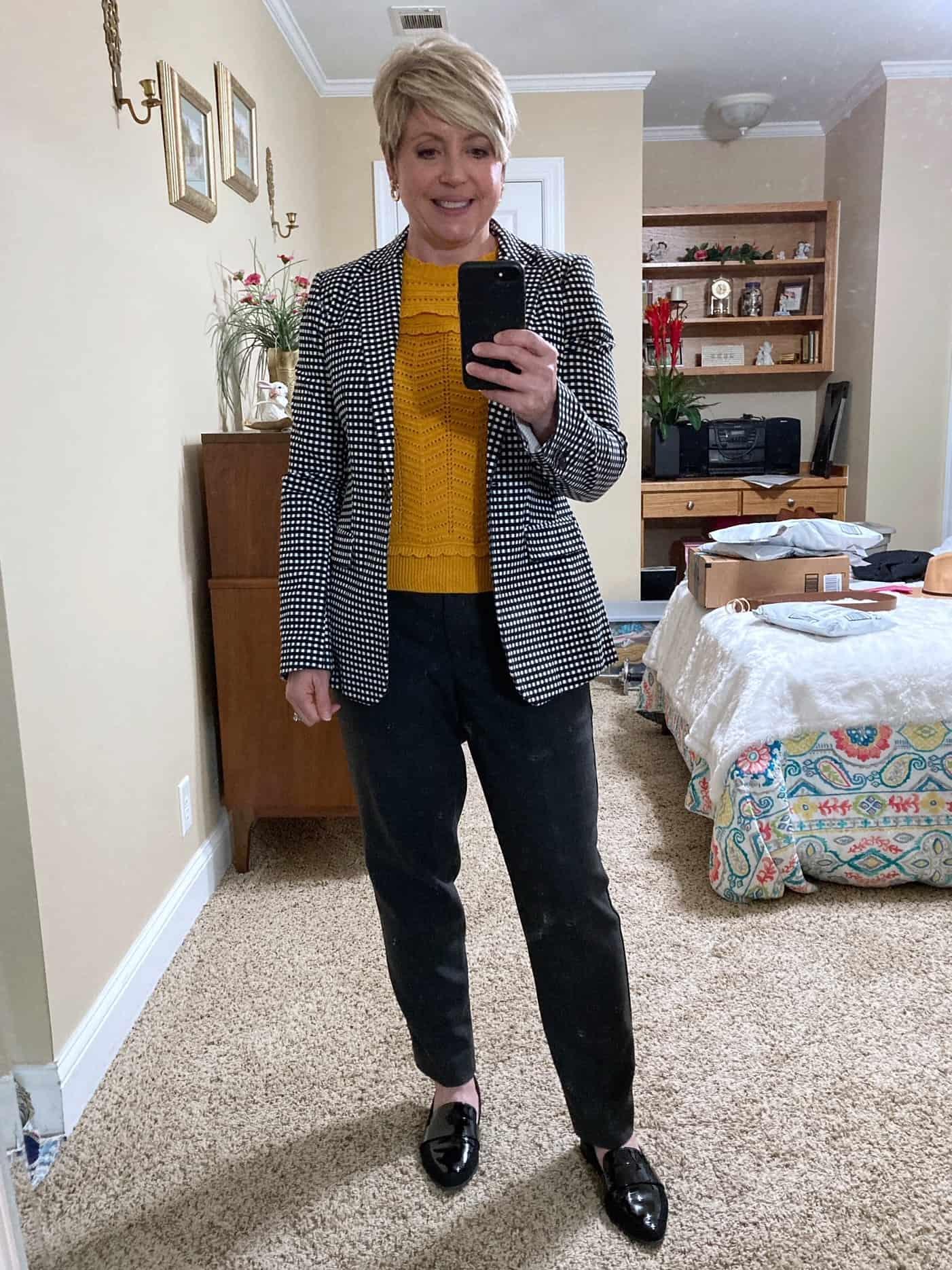 gingham blazer office wear