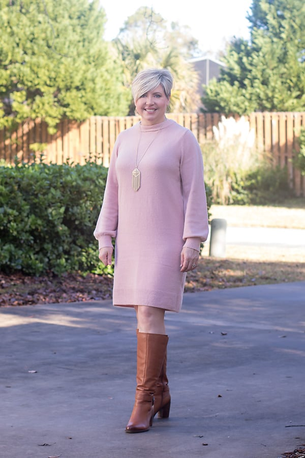 Classy sweater dress Thanksgiving Day outfit ideas