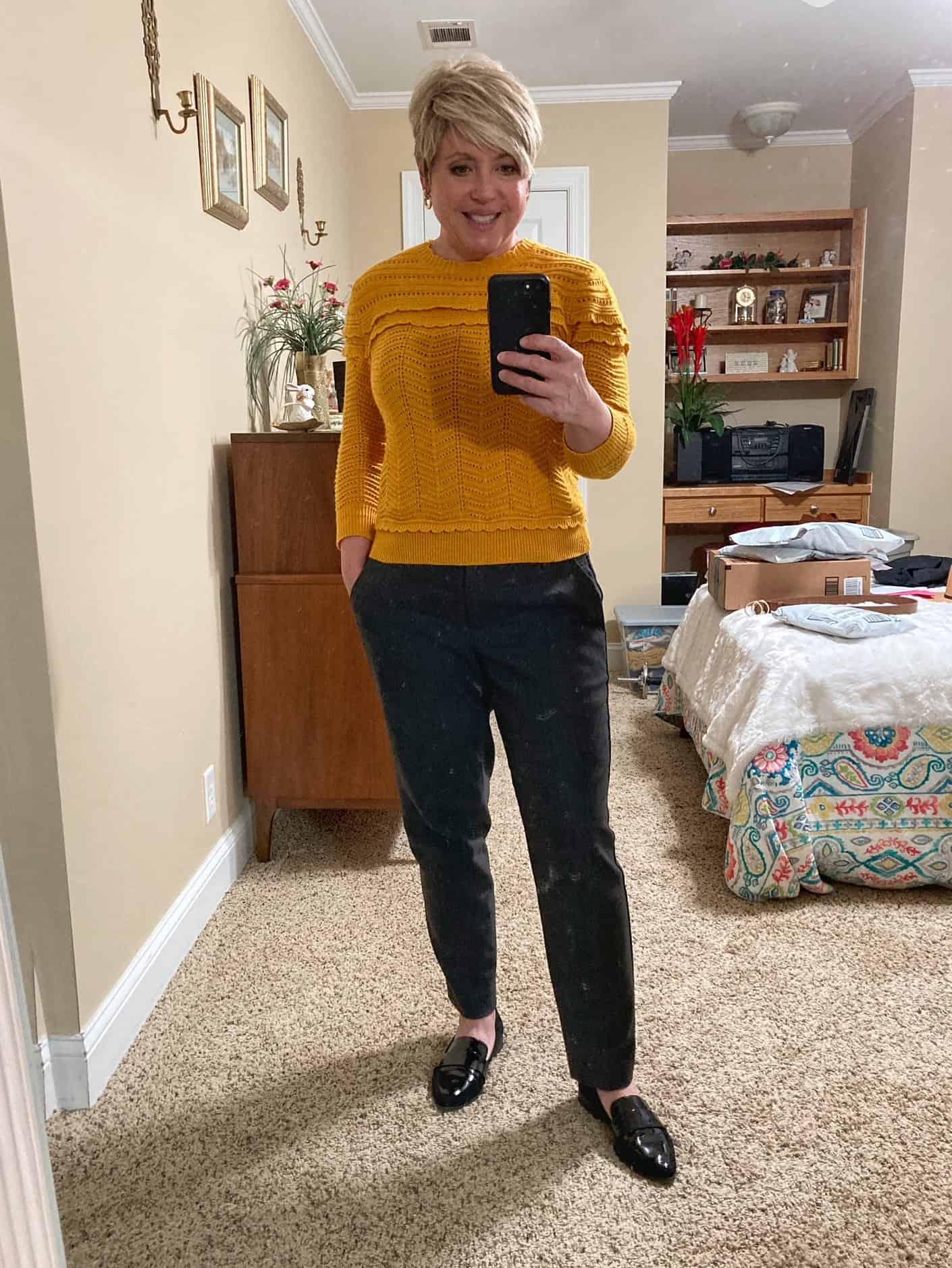 mustard sweater business casual