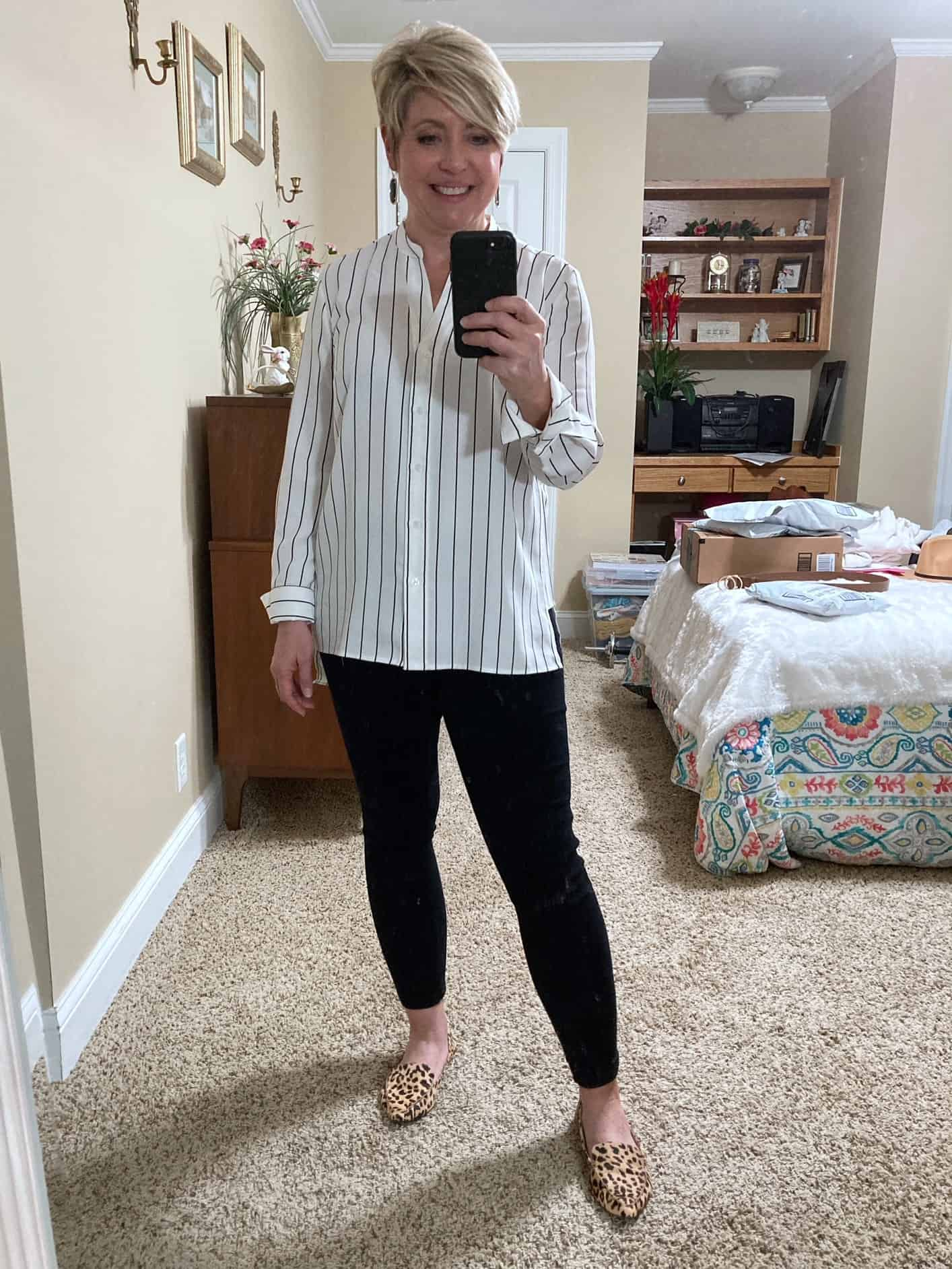 work from home tunic top outfit