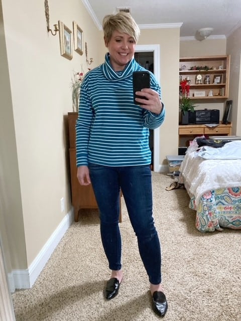 cozy striped sweatshirt