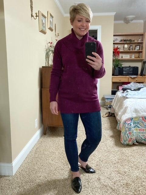 cozy cowl neck tunic sweater