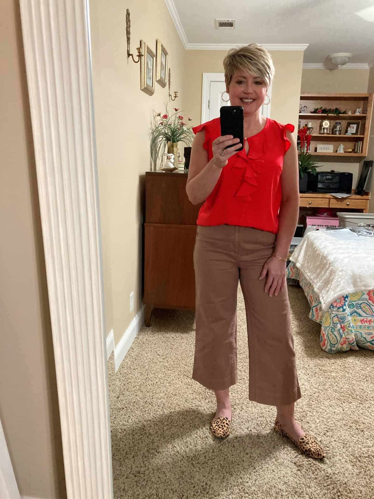 ruffle top with wide leg crop pants