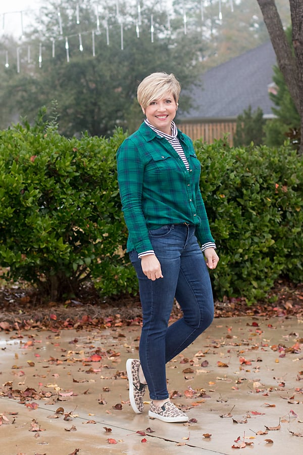 pattern mixing outfit with plaid, stripes and leopard