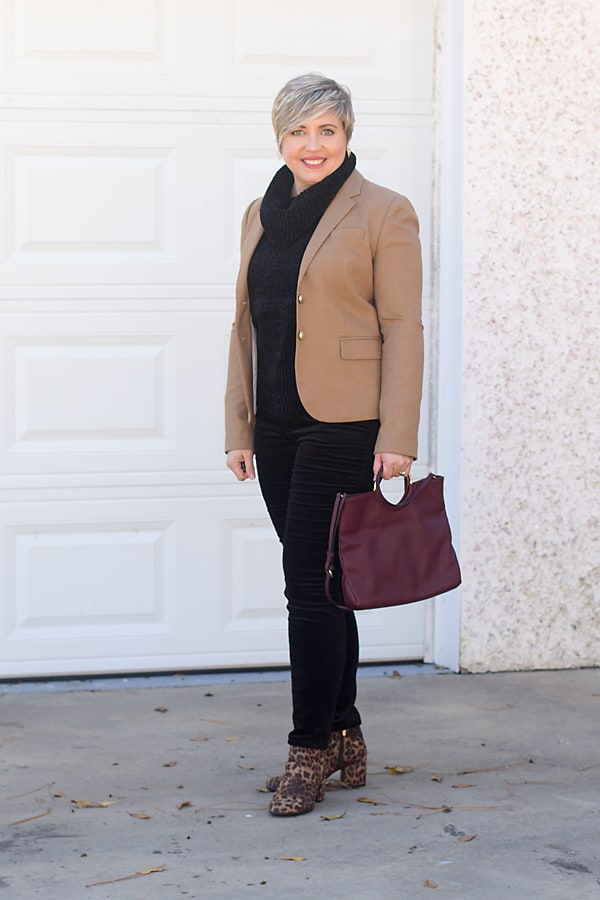 camel blazer and velvet pants