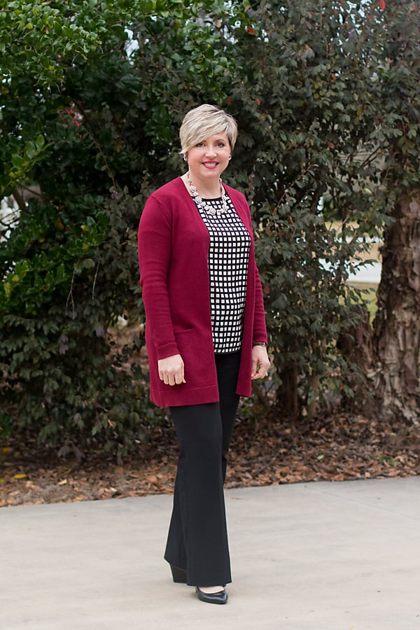 office outfit with long burgundy cardigan