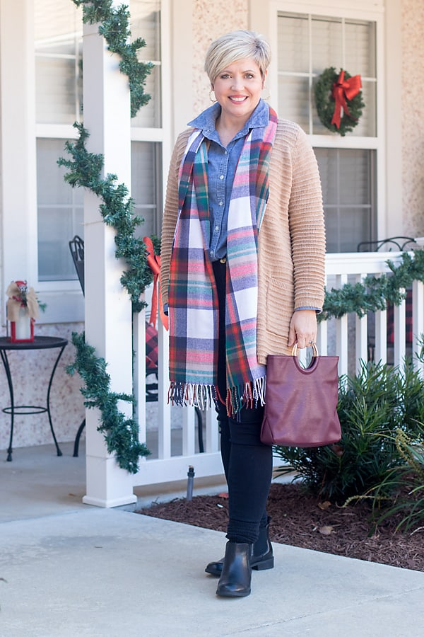 winter outfit with chambray shirt, cardigan and plaid scarf; comfy and cozy outfit