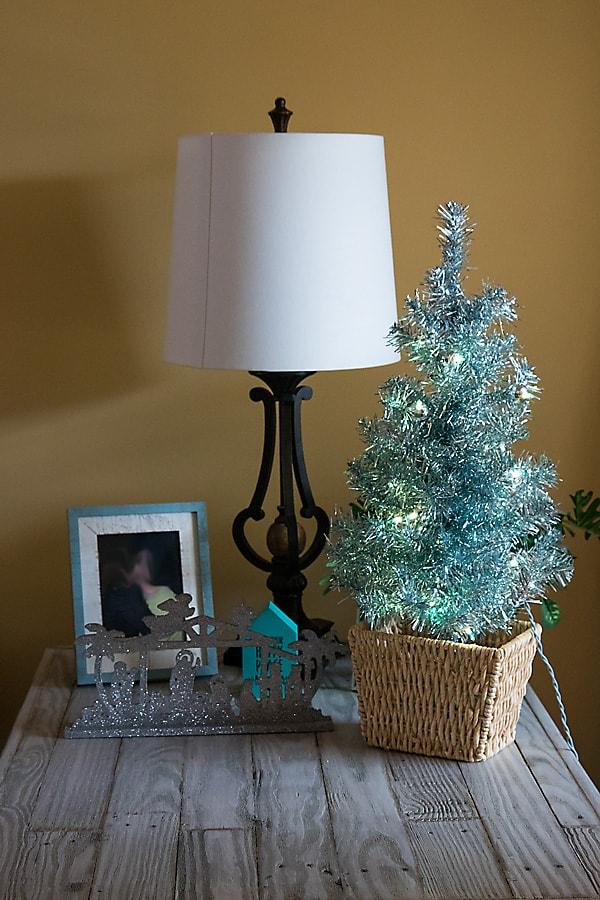 blue mini Christmas tree