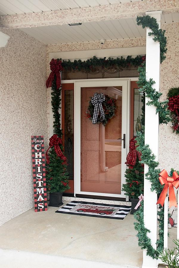 Christmas Porch in Buffalo Plaid