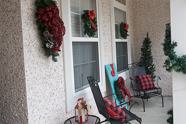 Christmas porch in red buffalo plaid