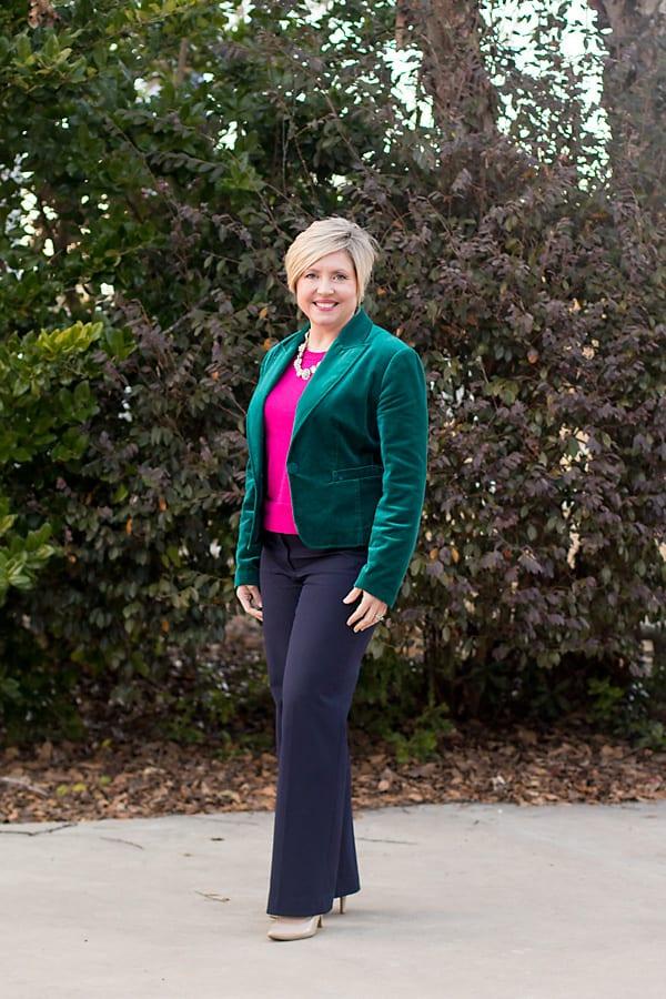 velvet blazer work outfit
