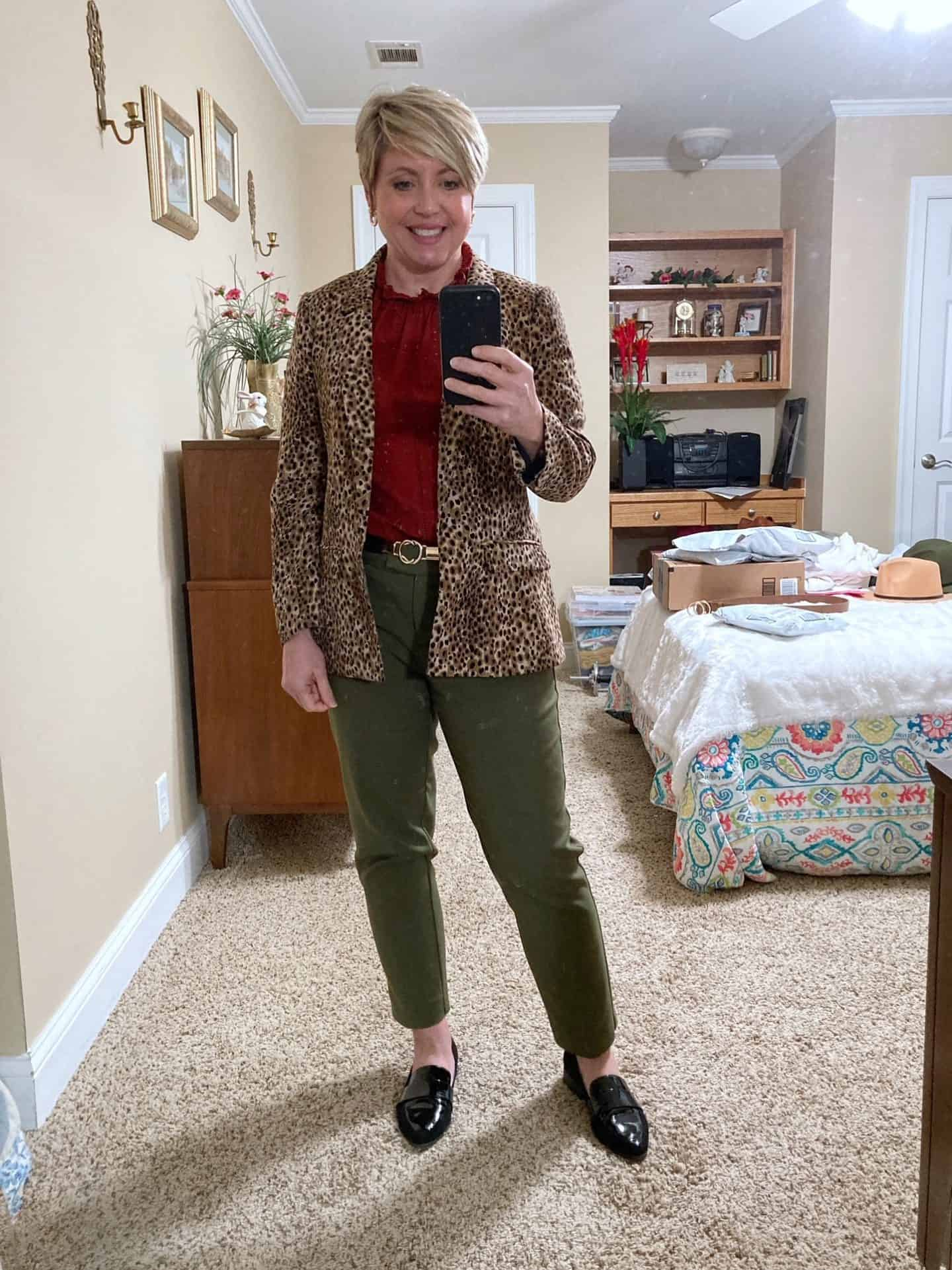 olive pants and leopard blazer outfit for work; womens work wear