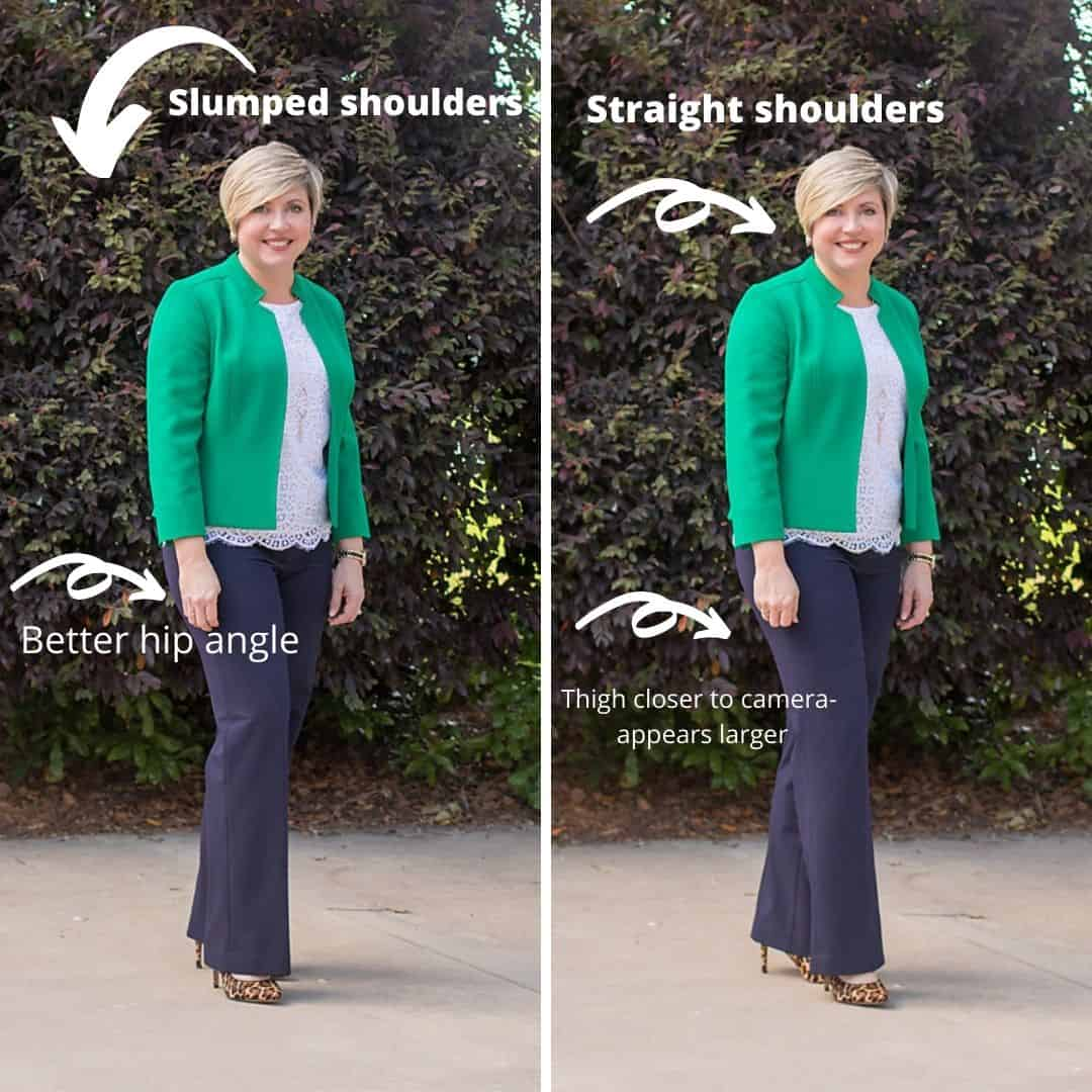 posture and body placement for photos- how to look good in holiday photos