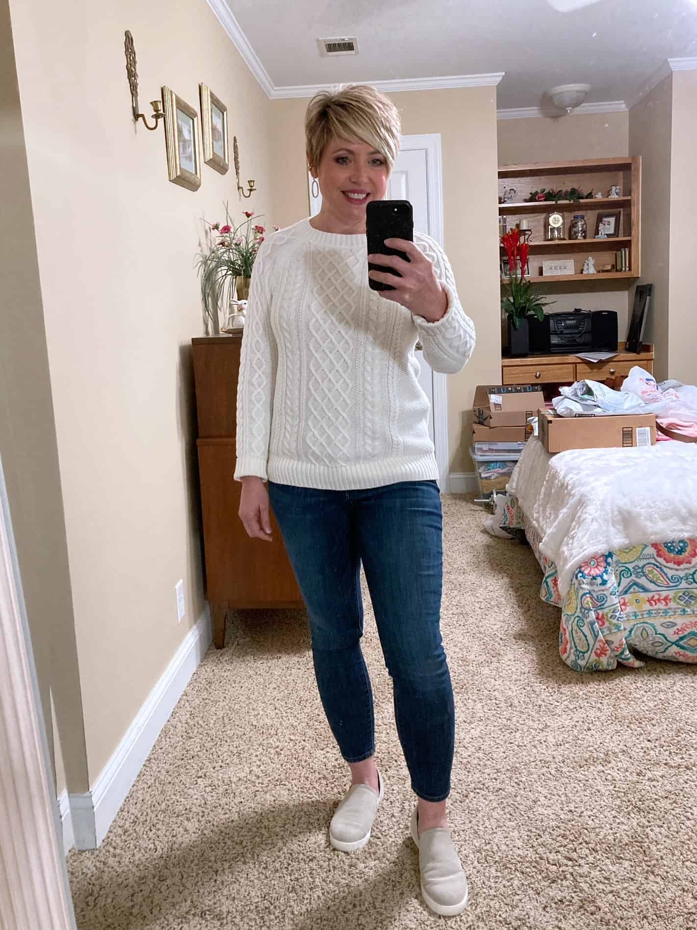 cable knit sweater and jeans comfy and cozy outfits