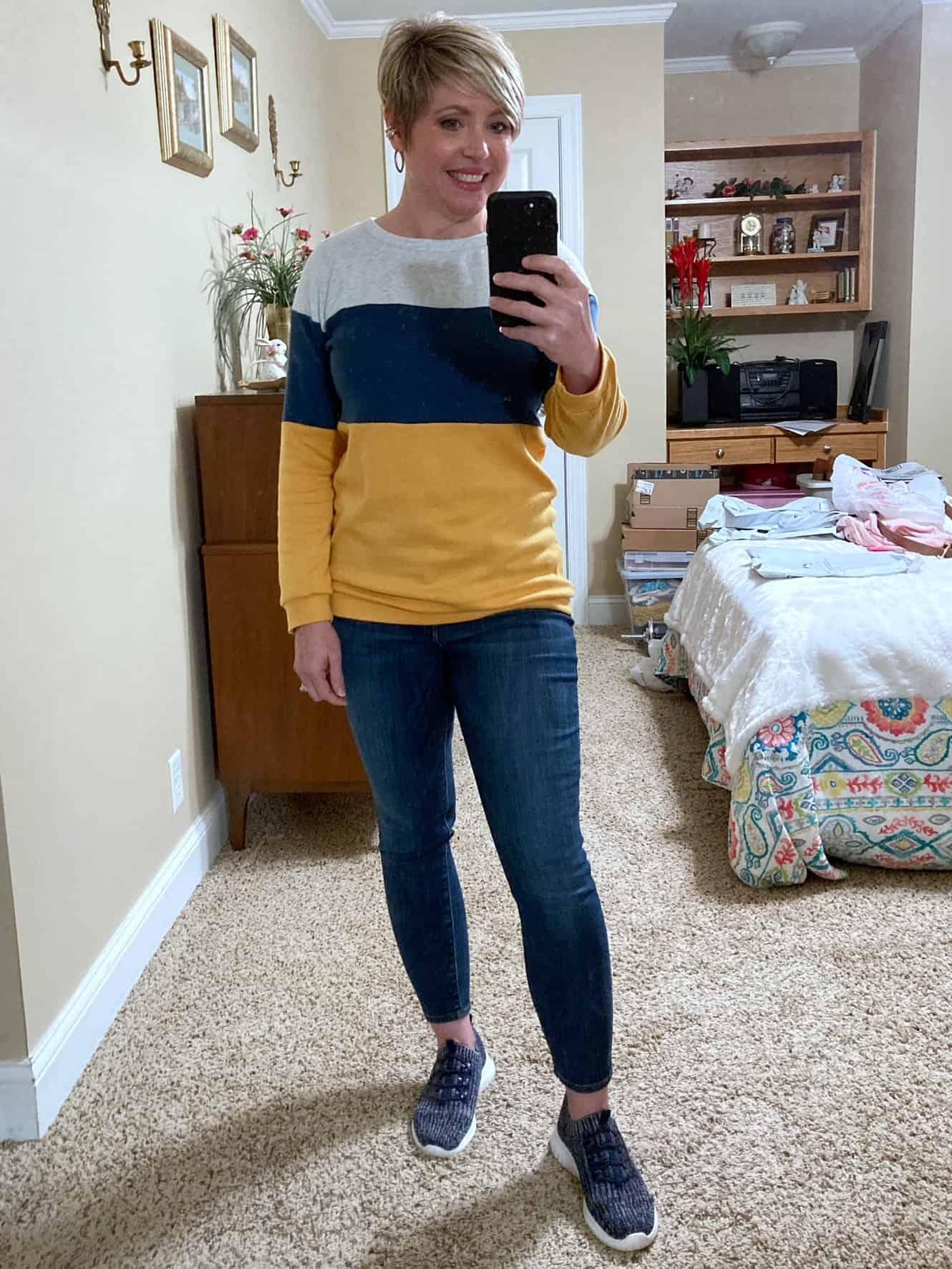 colorblock sweatshirt with sneakers