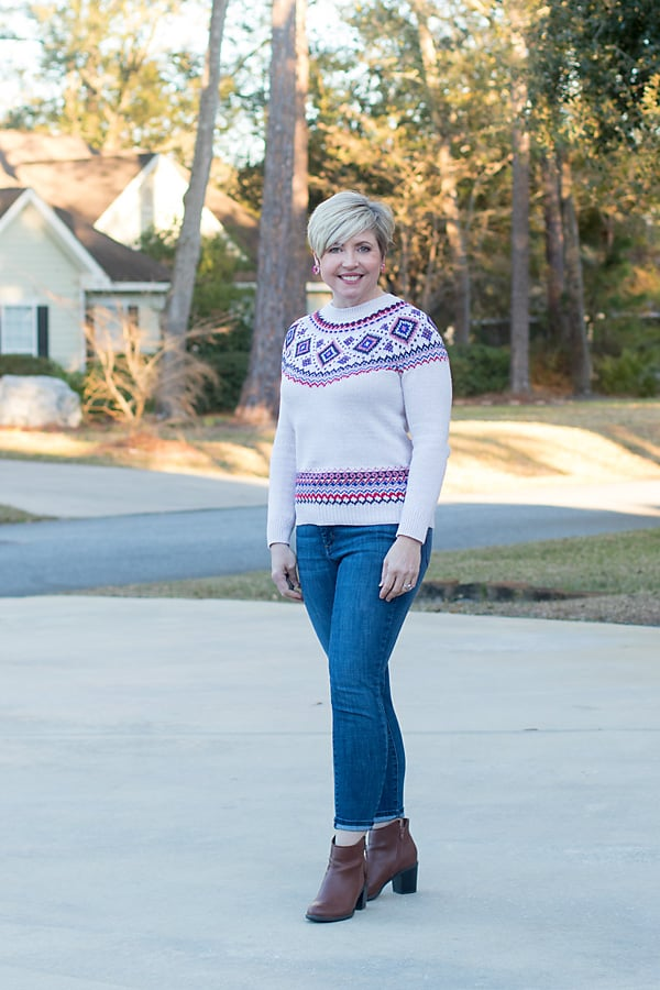 fair isle sweater and skinny jeans outfit