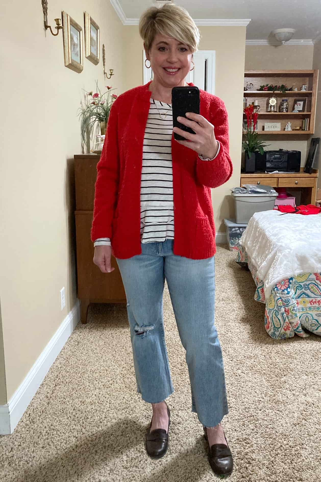 red cardigan outfit