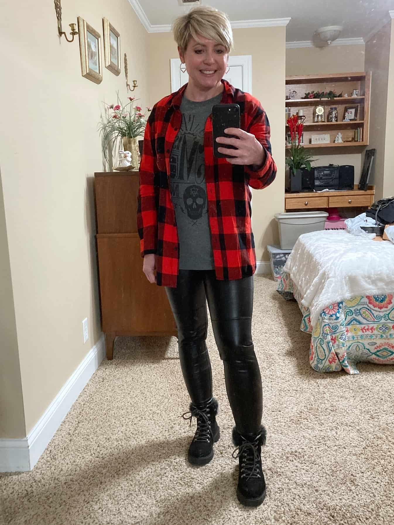 faux leather leggings and buffalo plaid shirt