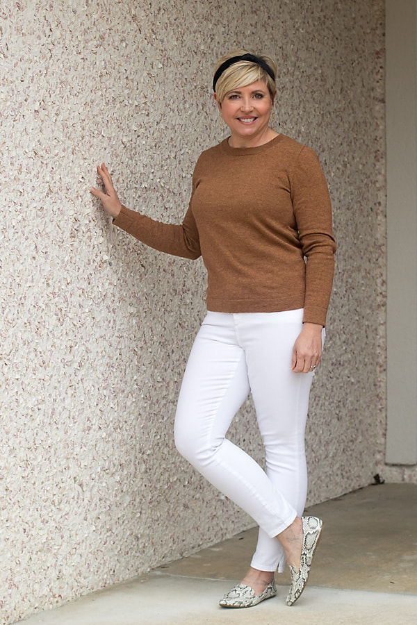white jeans winter neutral outfit; how to wear neutral colors