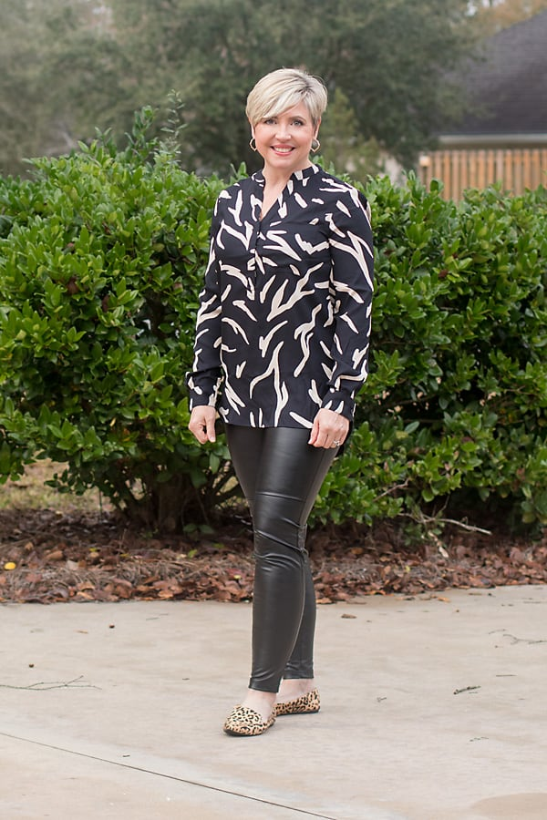 zebra print tunic top with leggings outfit